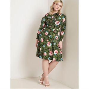 Eloquii Green Floral Pattern Tie Neck Midi Dress